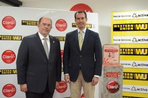 José Martín Ayala, gerente general de Western Union Red Activa, y Alfredo Escobar, presidente ejecutivo de CLARO.